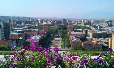Yerevan with a view from the Cascade