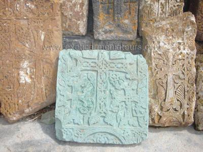 Stone-cross from local green stone
