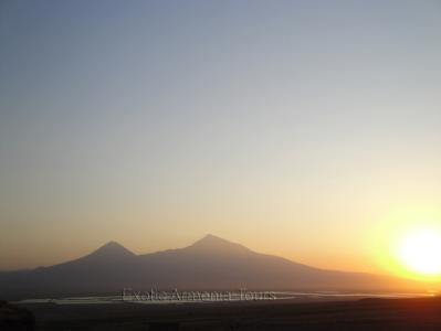 Ararat mountain with the sunset